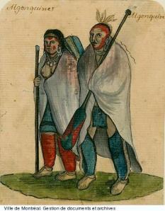 Algonquine et Algonquin, vers 1750. BM7