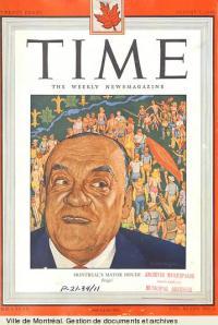 Camillien Houde sur la page couverture de l'édition canadienne de Time, 5 août 1946, VM6,S10