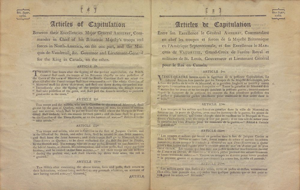 Un document à lire : Articles de la Capitulation de Montréal, 8 septembre 1760 (1/2)