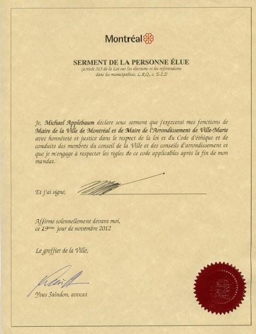Assermentation du maire de Montréal, 2012, MTL3,S3,SS4,D3