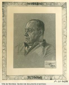 Camillien Houde au camp de Petawawa/ dessin de Guido Nincheri, 1940, VM6,D026-34